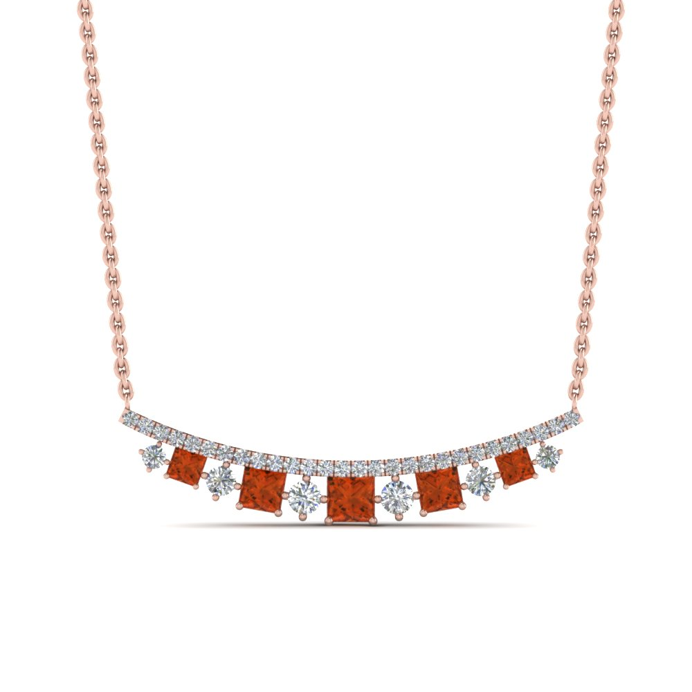Graduated Orange Sapphire Necklace