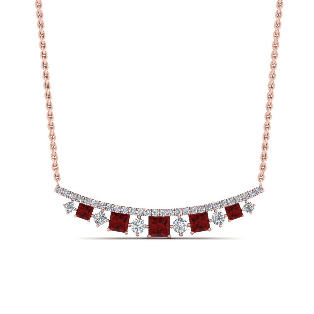 curved graduated diamond necklace with ruby in FDPD8928GRUDRANGLE1 NL RG
