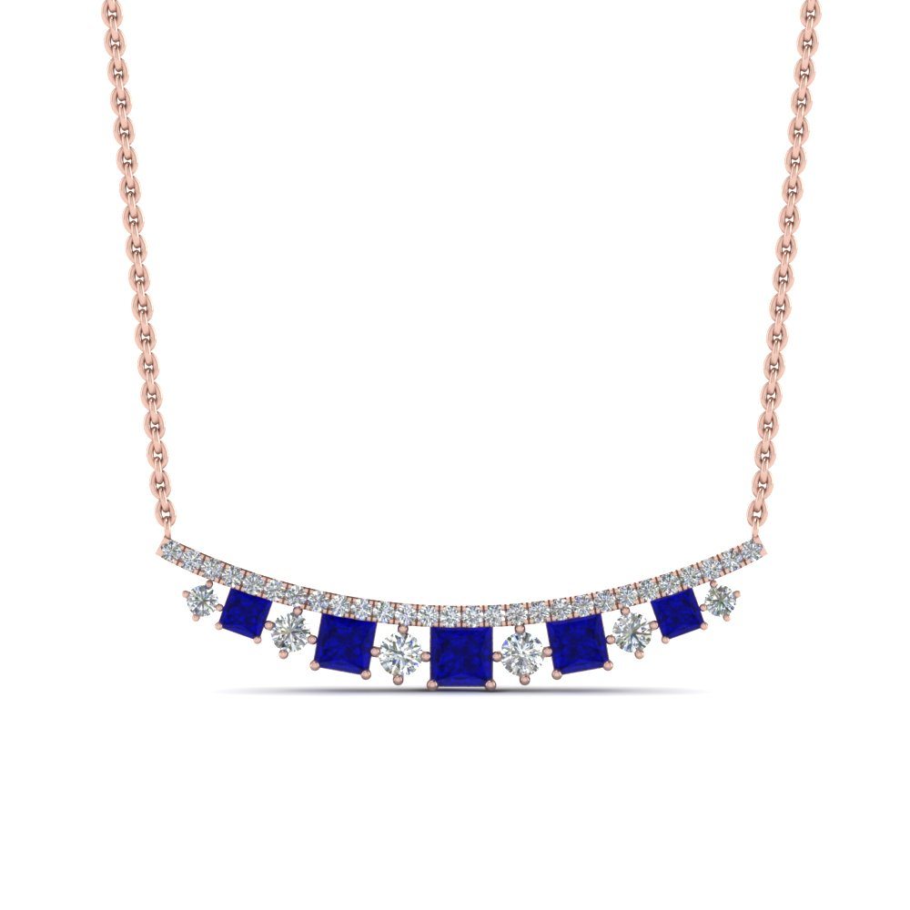 curved graduated diamond necklace with sapphire in FDPD8928GSABLANGLE1 NL RG