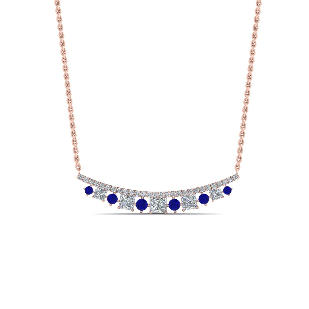 Curved Diamond Necklace For Womens
