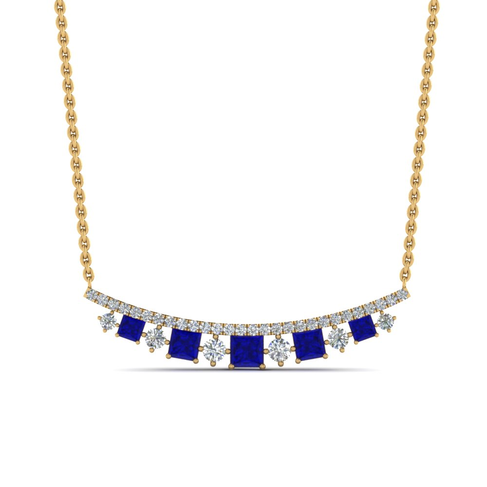 curved graduated diamond necklace with sapphire in FDPD8928GSABLANGLE1 NL YG