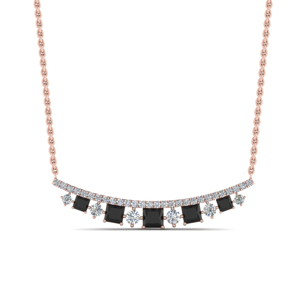 curved graduated necklace with black diamond in FDPD8928GBLACKANGLE1 NL RG