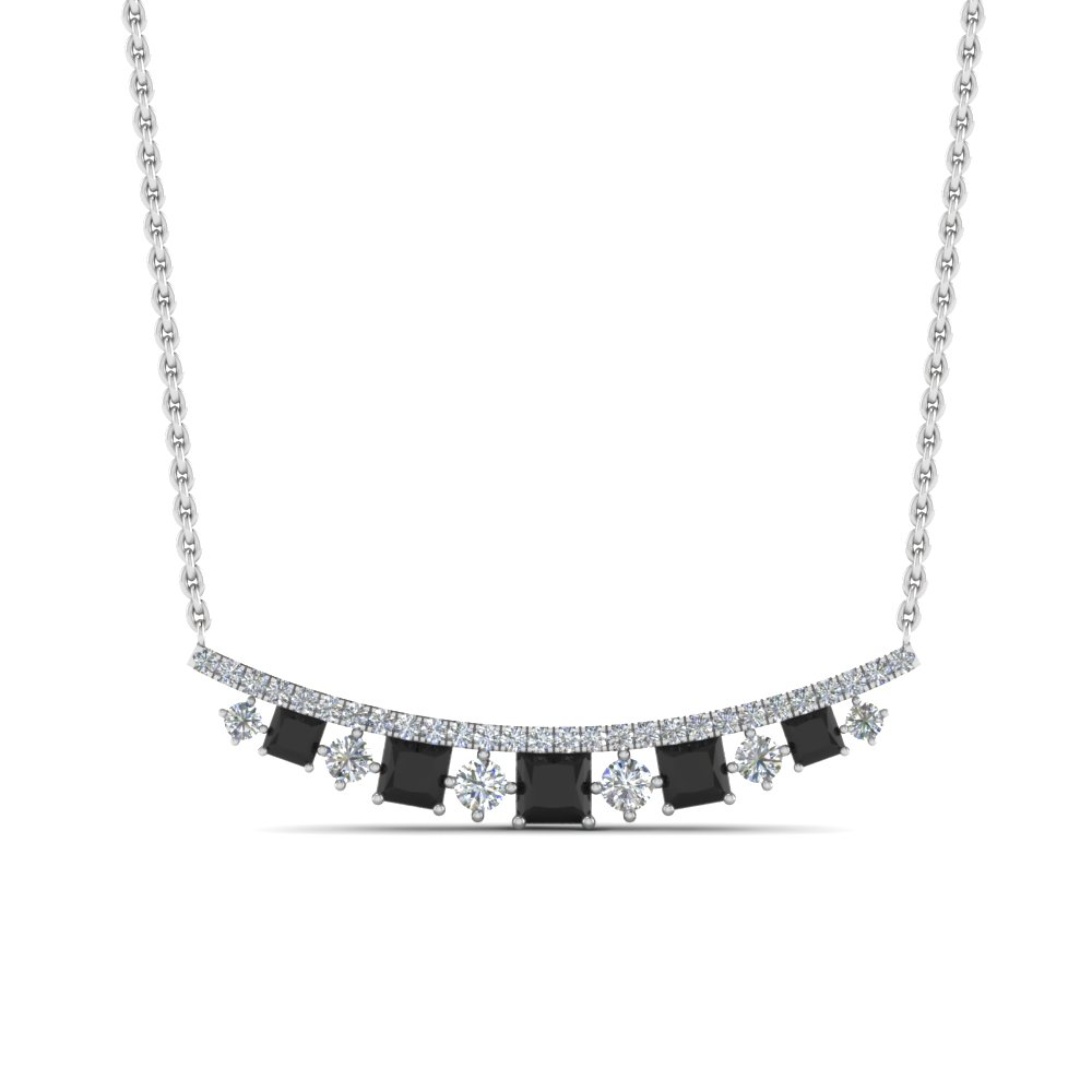 curved graduated necklace with black diamond in FDPD8928GBLACKANGLE1 NL WG