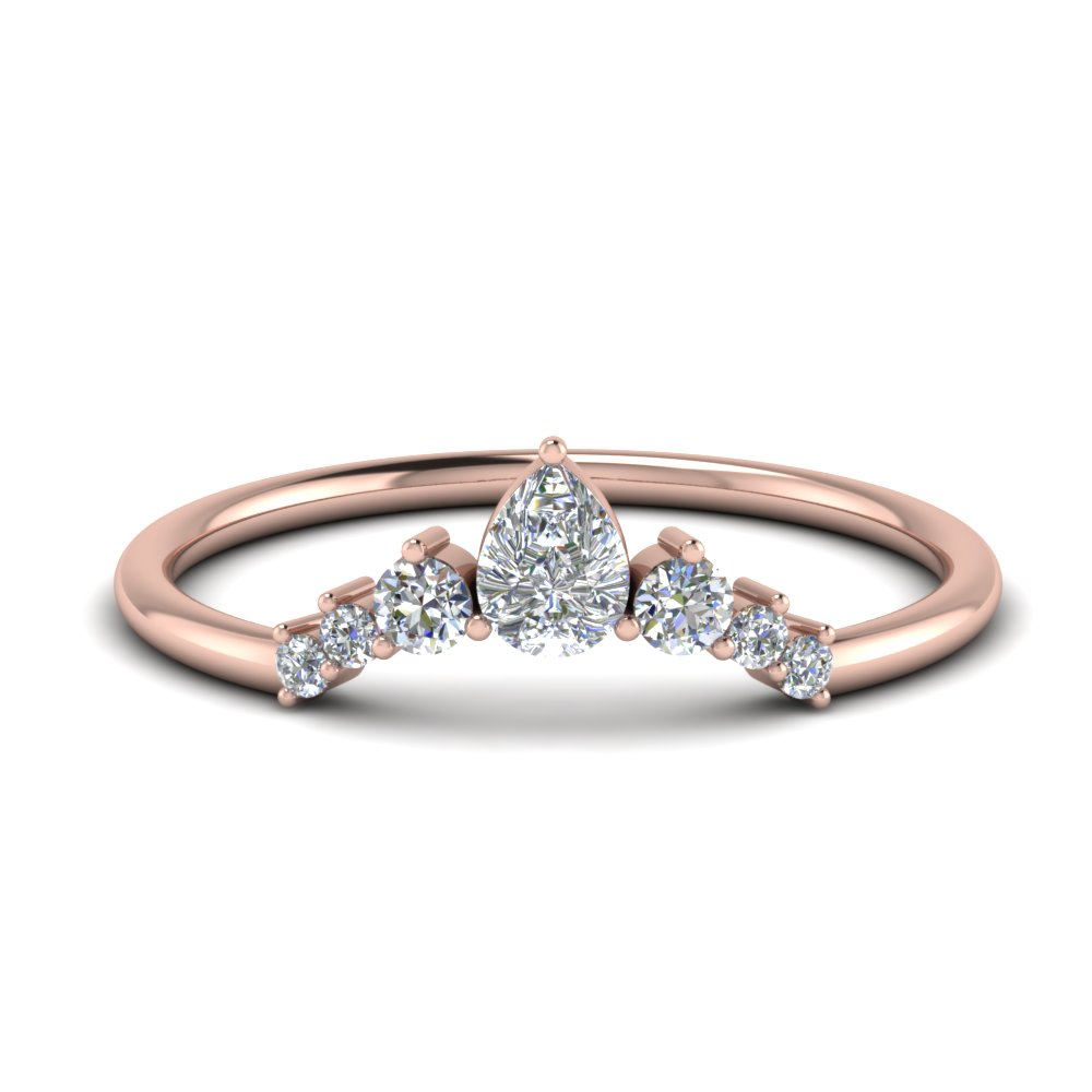 Curved Pear Diamond Anniversary Band