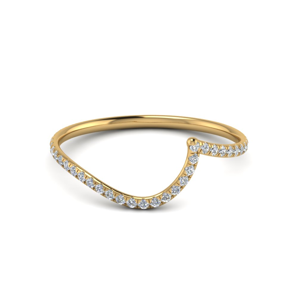 14K Gold Curved Diamond Band