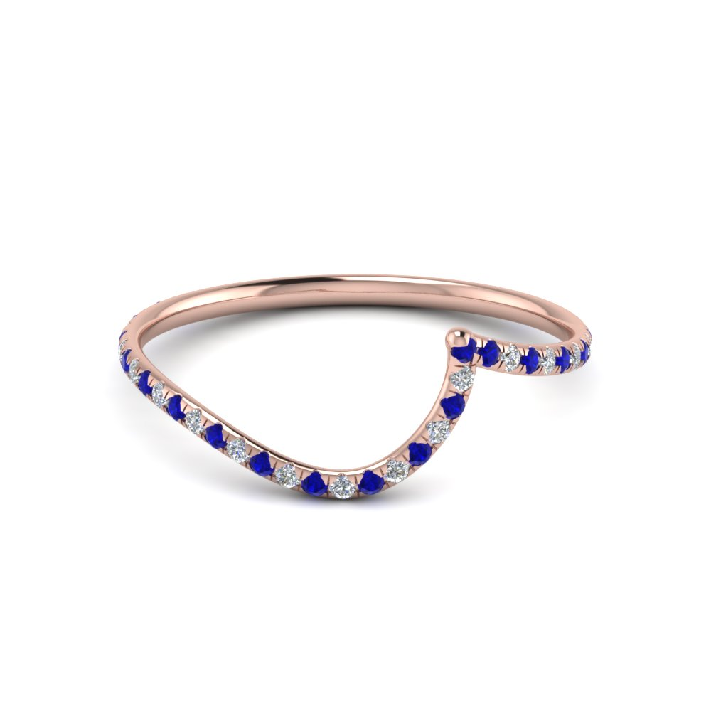 curved matching diamond band for wedding ring with blue sapphire in FDENS1295BGSABL NL RG
