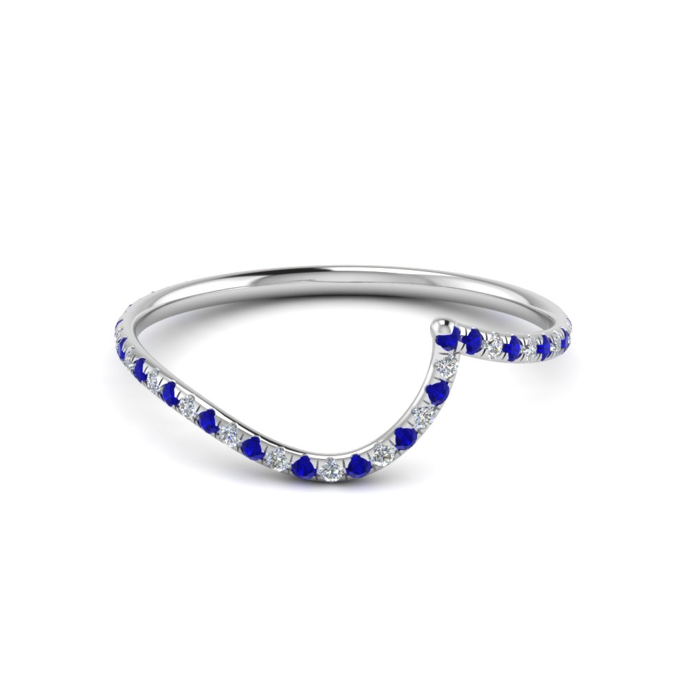 curved matching diamond band for wedding ring with sapphire in 950 Platinum FDENS1295BGSABL NL WG