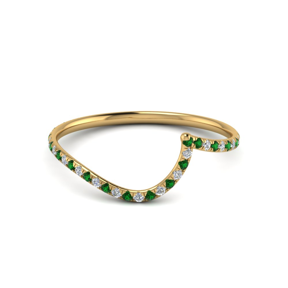 Green Emerald Wedding Band For Ladies