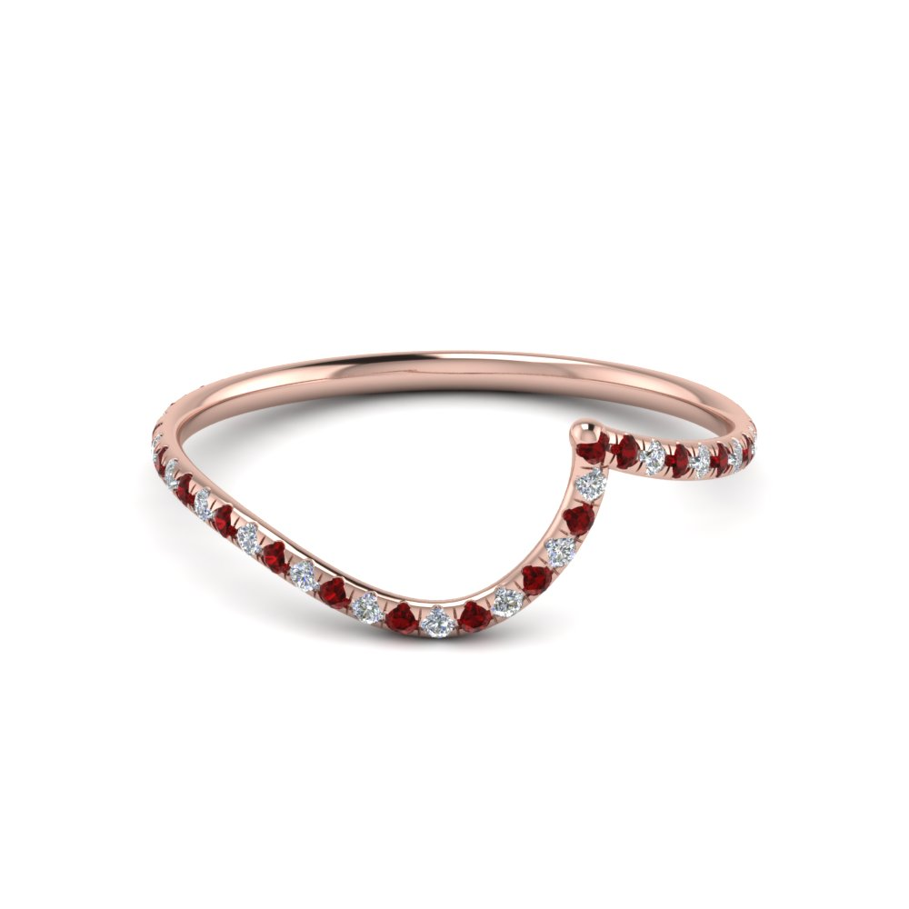 Cheap Curved Ruby Wedding Band For Female