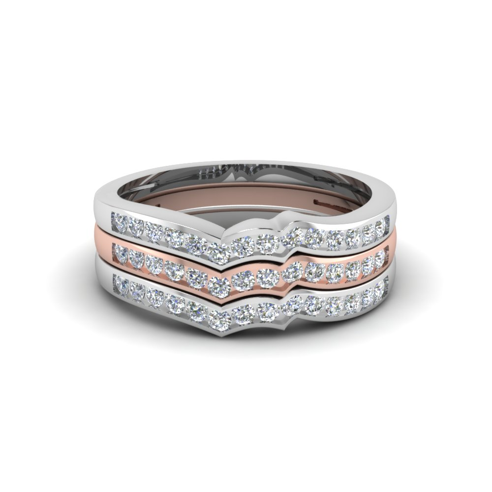 Channel Set Stackable Wedding Bands 2 Tone
