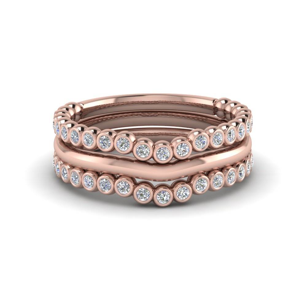 Rose Gold Curved Diamond Stackable Rings