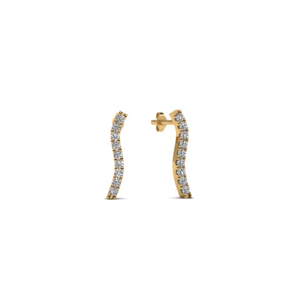 curved stud round diamond earring for women in 14K yellow gold FDEAR8107 NL YG