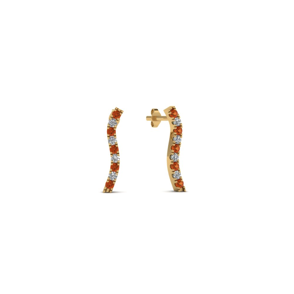 curved-stud-diamond-earring-for-women-with-orange-sapphire-in-FDEAR8107GSAOR-NL-YG