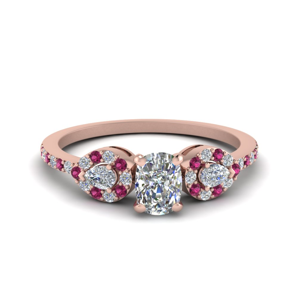 Cushion 3 Stone Diamond Halo Engagement Ring With Pink Sapphire In 18K Rose Gold