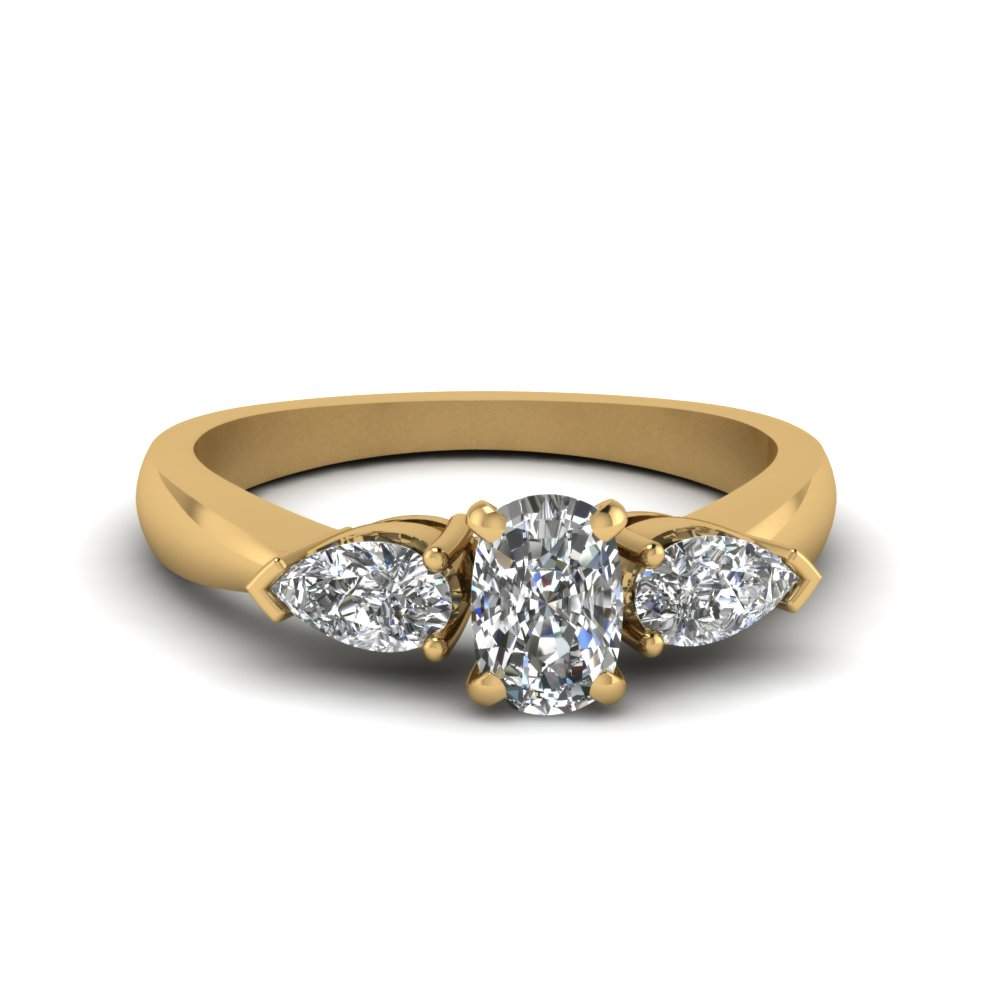 Gold Cushion Diamond  Rings