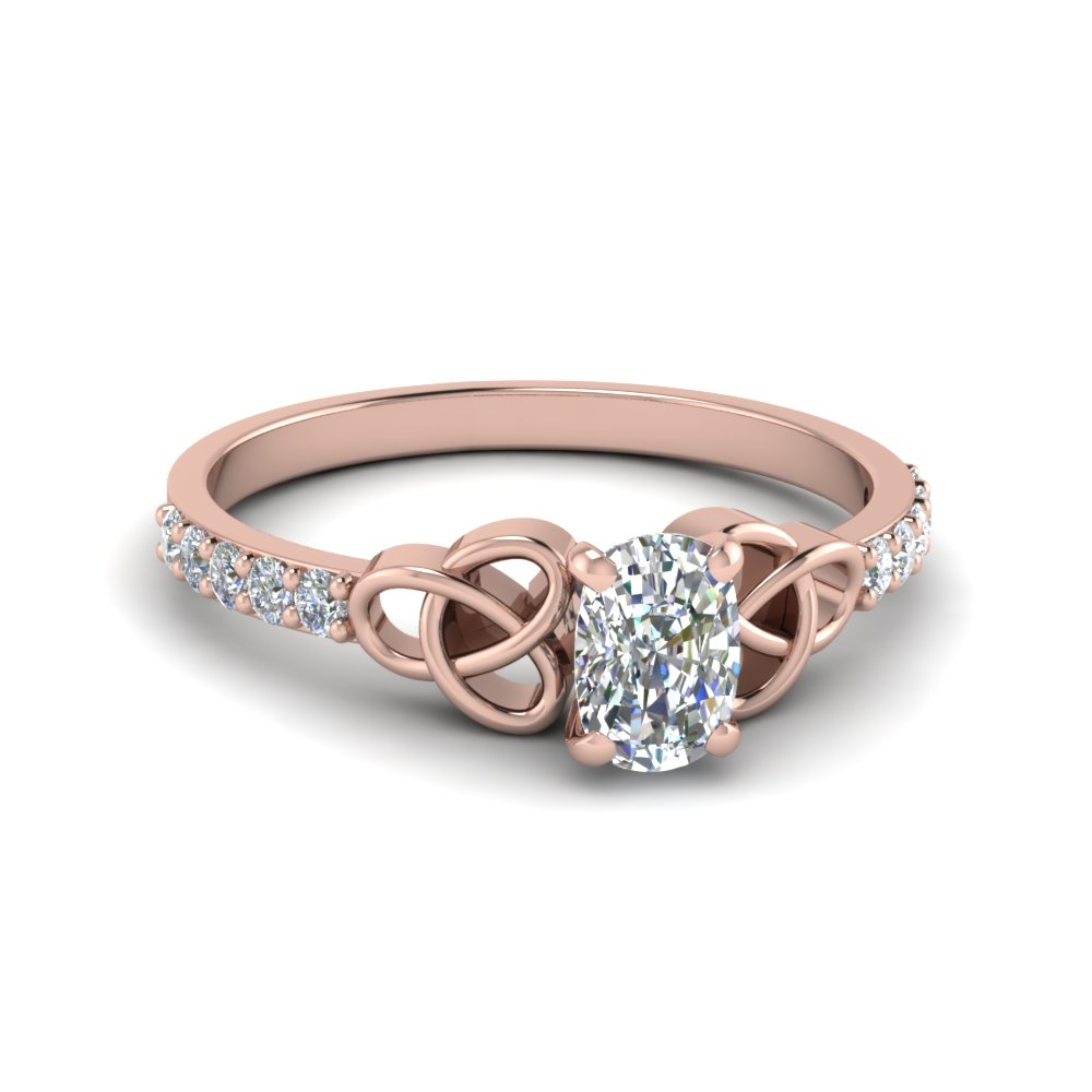 cushion celtic rose gold engagement ring in FD8061CUR NL RG