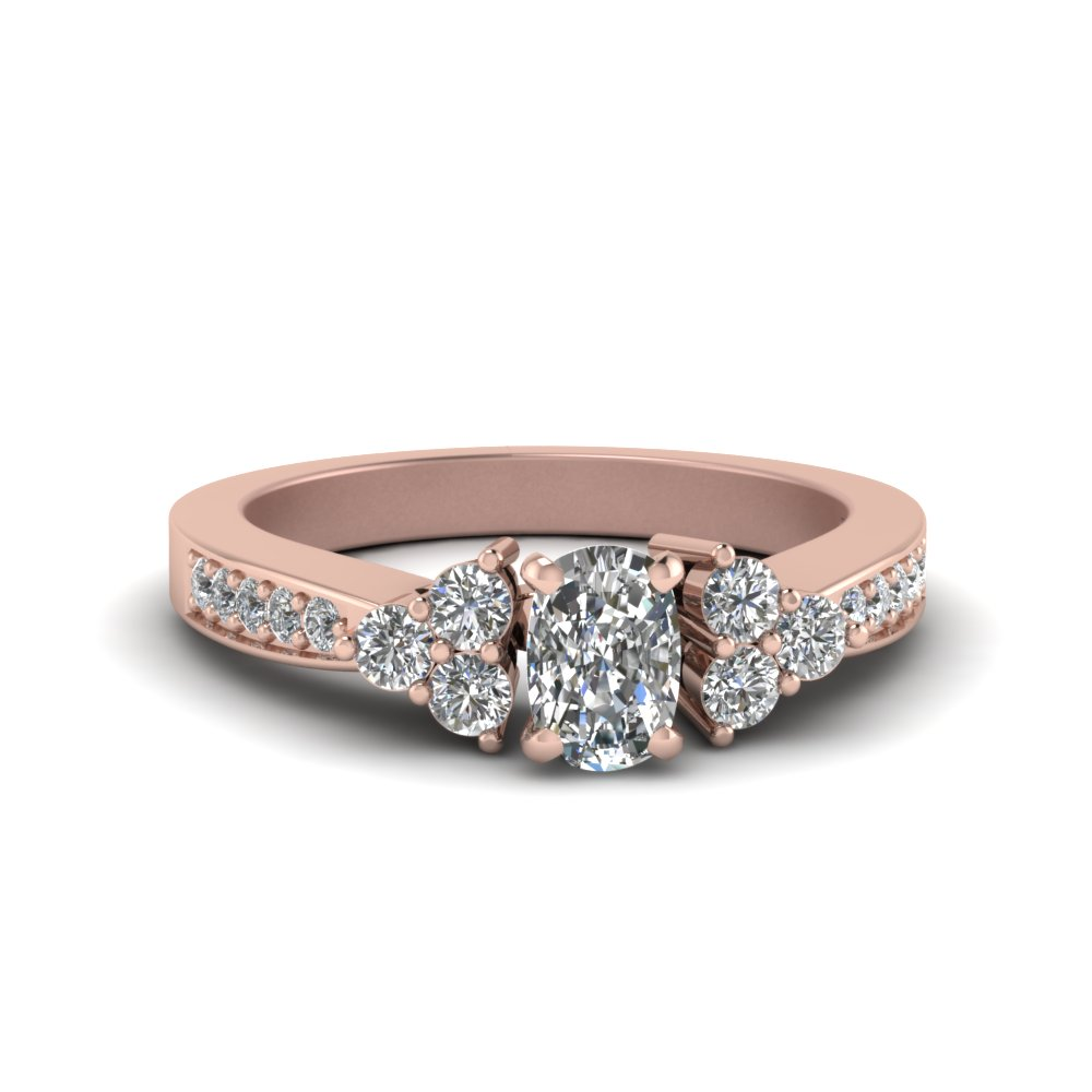 cushion cut 3 stone pave diamond accent engagement ring in 14K rose gold FDENS3081CUR NL RG