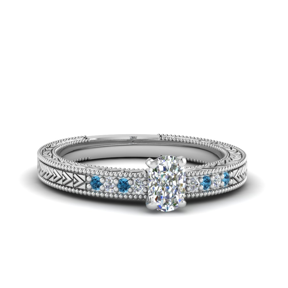 cushion cut antique design pave diamond engagement ring with ice blue topaz in FDENS3033CURGICBLTO NL WG