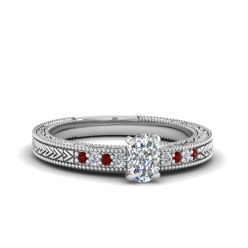 Arrow Design Moissanite Ruby Ring
