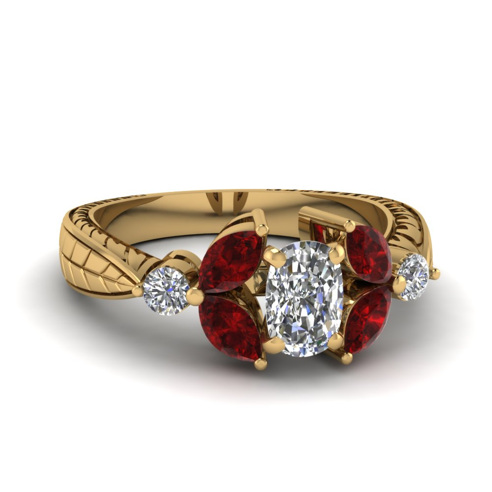 Engraved Ruby Engagement Ring