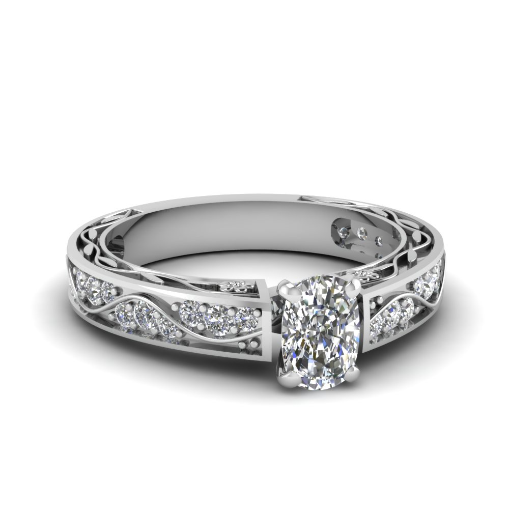 Cushion Cut Diamond Side Stone Rings