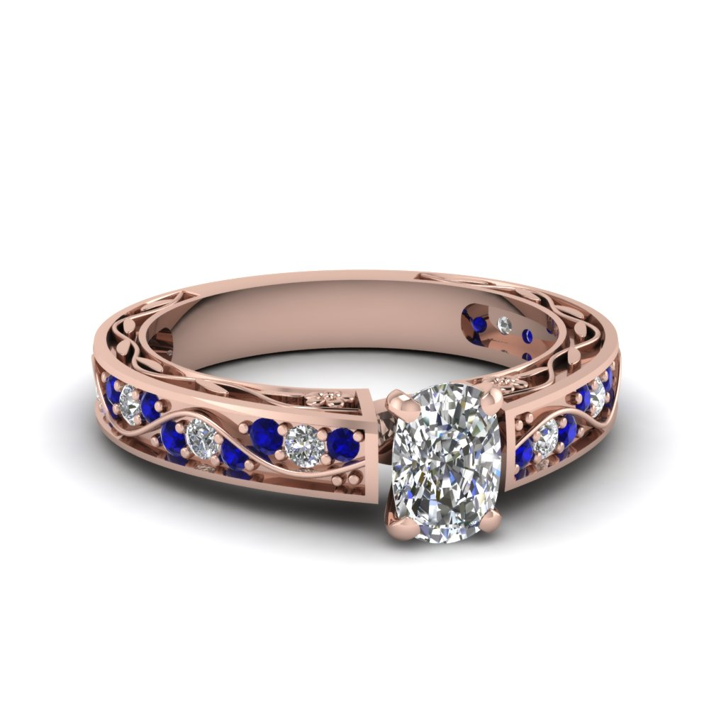 Cushion Cut Diamond & Sapphire Rings