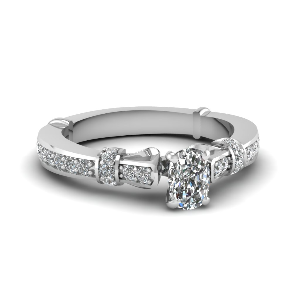 cushion cut antique petite diamond engagement ring in 14K white gold FDENS3318CUR NL WG