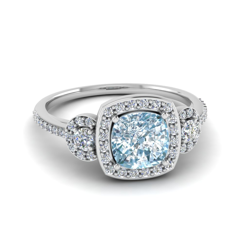 Pave Halo Aquamarine 3 Stone Ring