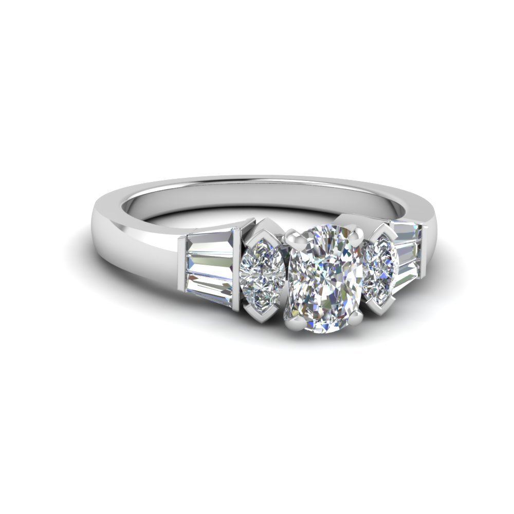 Bar Set Cushion Cut Diamond Ring