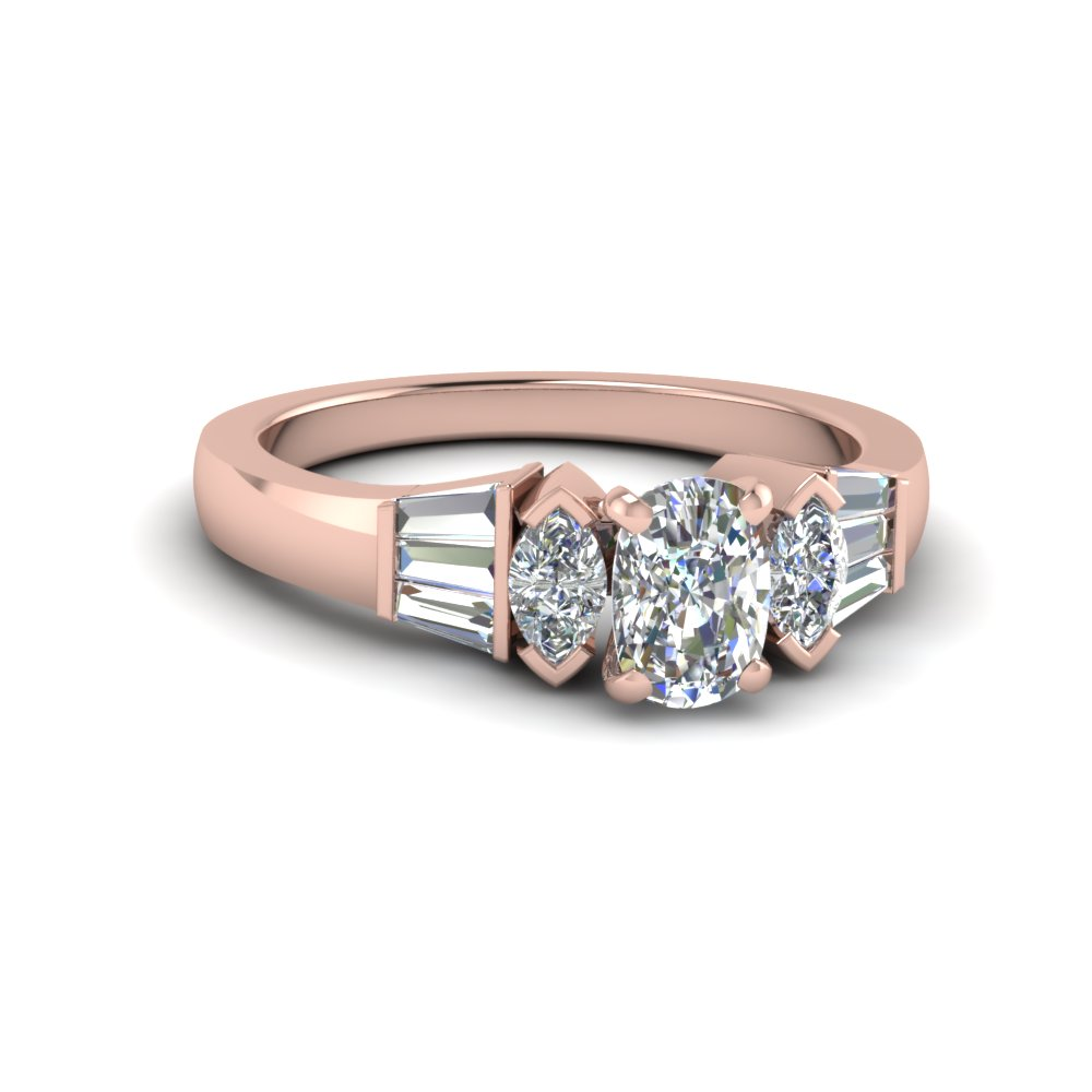 cushion cut baguette bar lab diamond engagement ring in 18K rose gold FDENR1120CUR NL RG