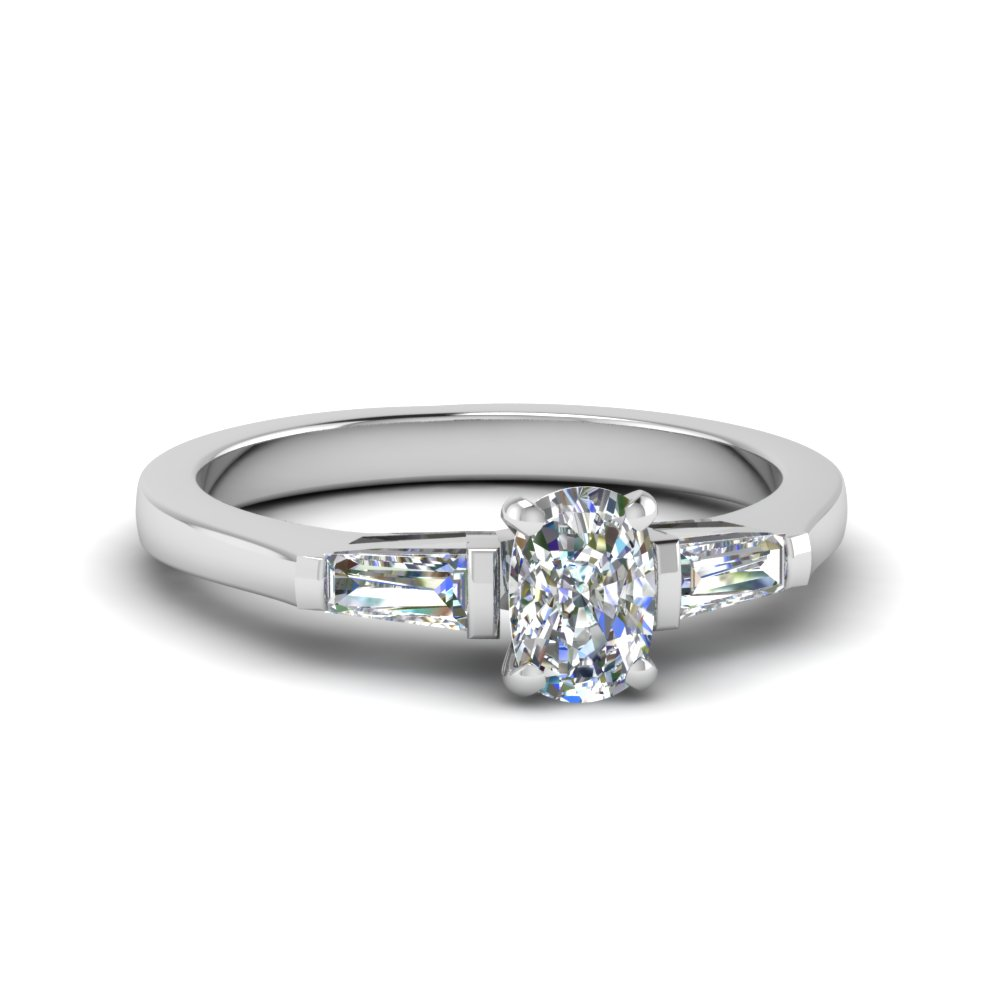 Cushion Cut 3 Stone Ring With Baguette