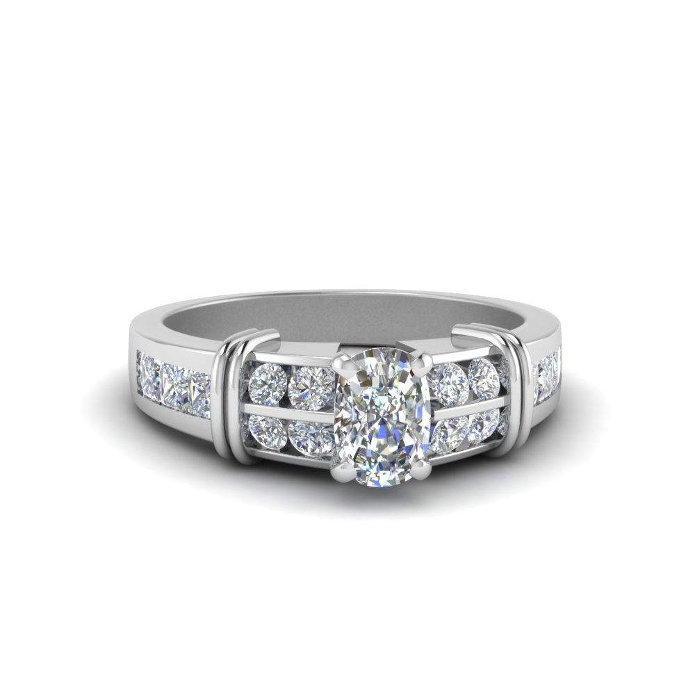 cushion cut channel set wide diamond engagement ring for her in 14K white gold FDENR2191CUR NL WG