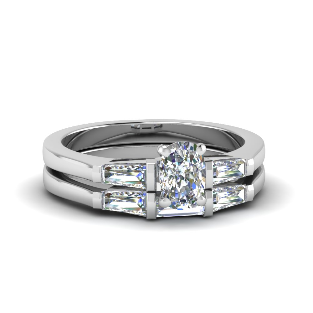 baguette with cushion cut 3 stone wedding set in FDENS100CU NL WG