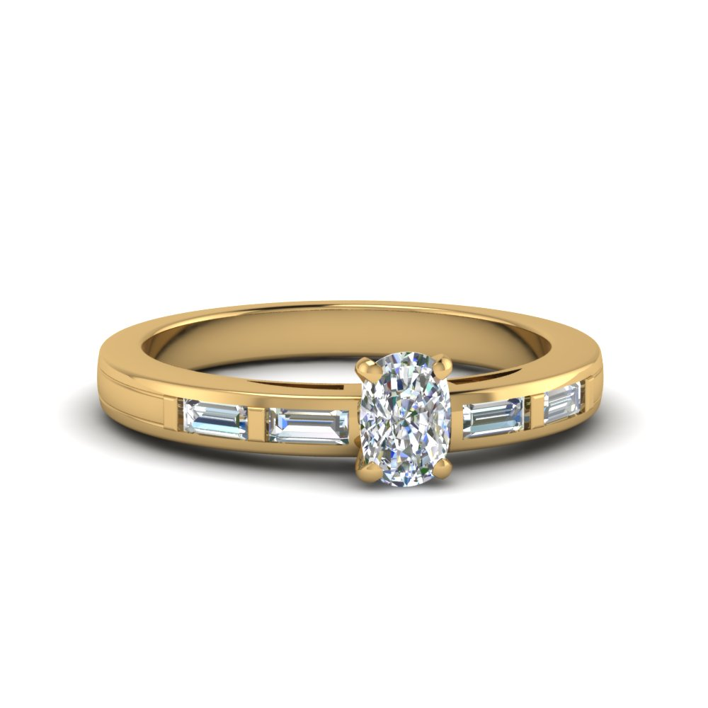 Cushion Cut Gold Petite Rings