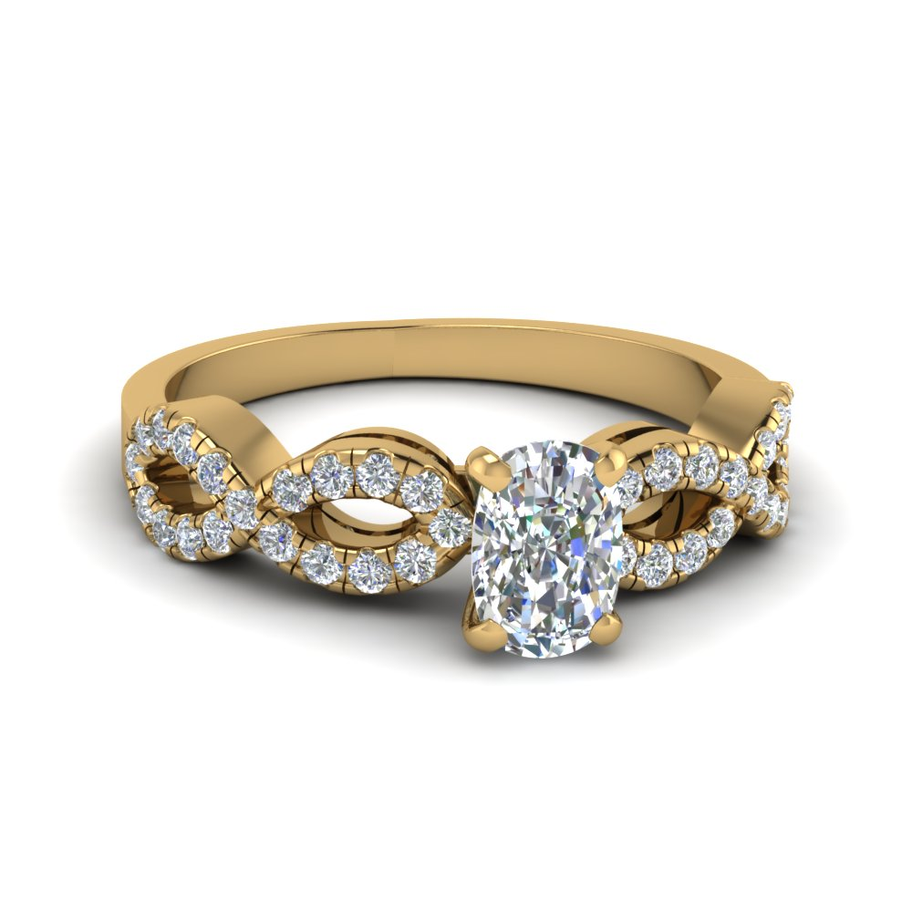 cushion cut braided diamond band split shank engagement ring in 14K yellow gold FD8062CUR NL YG