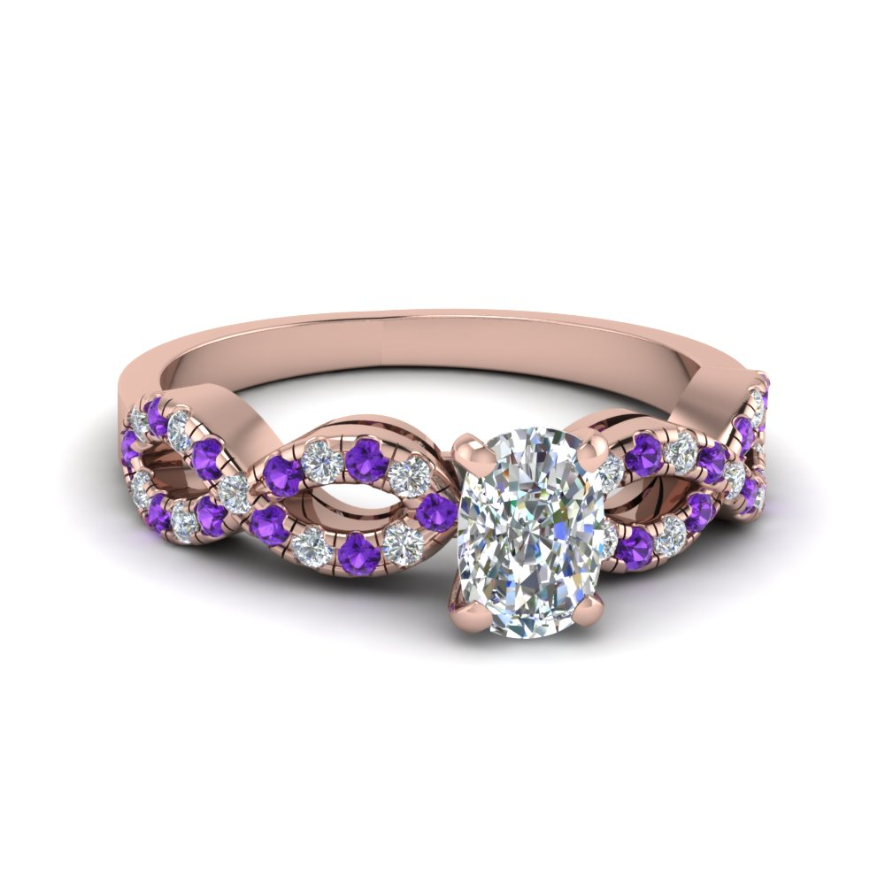 Cushion Cut Purple Topaz Engagement Rings