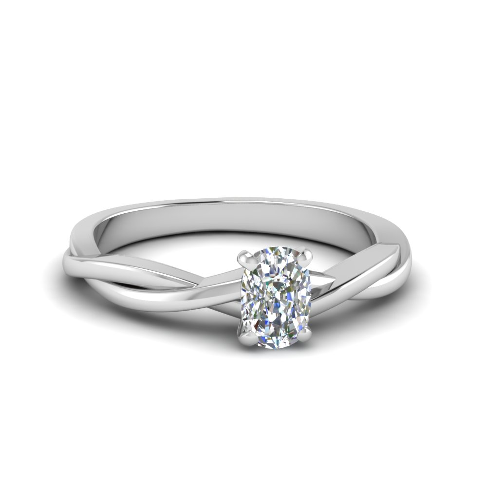 cushion cut braided single diamond engagement ring in 14K white gold FD8252CUR NL WG