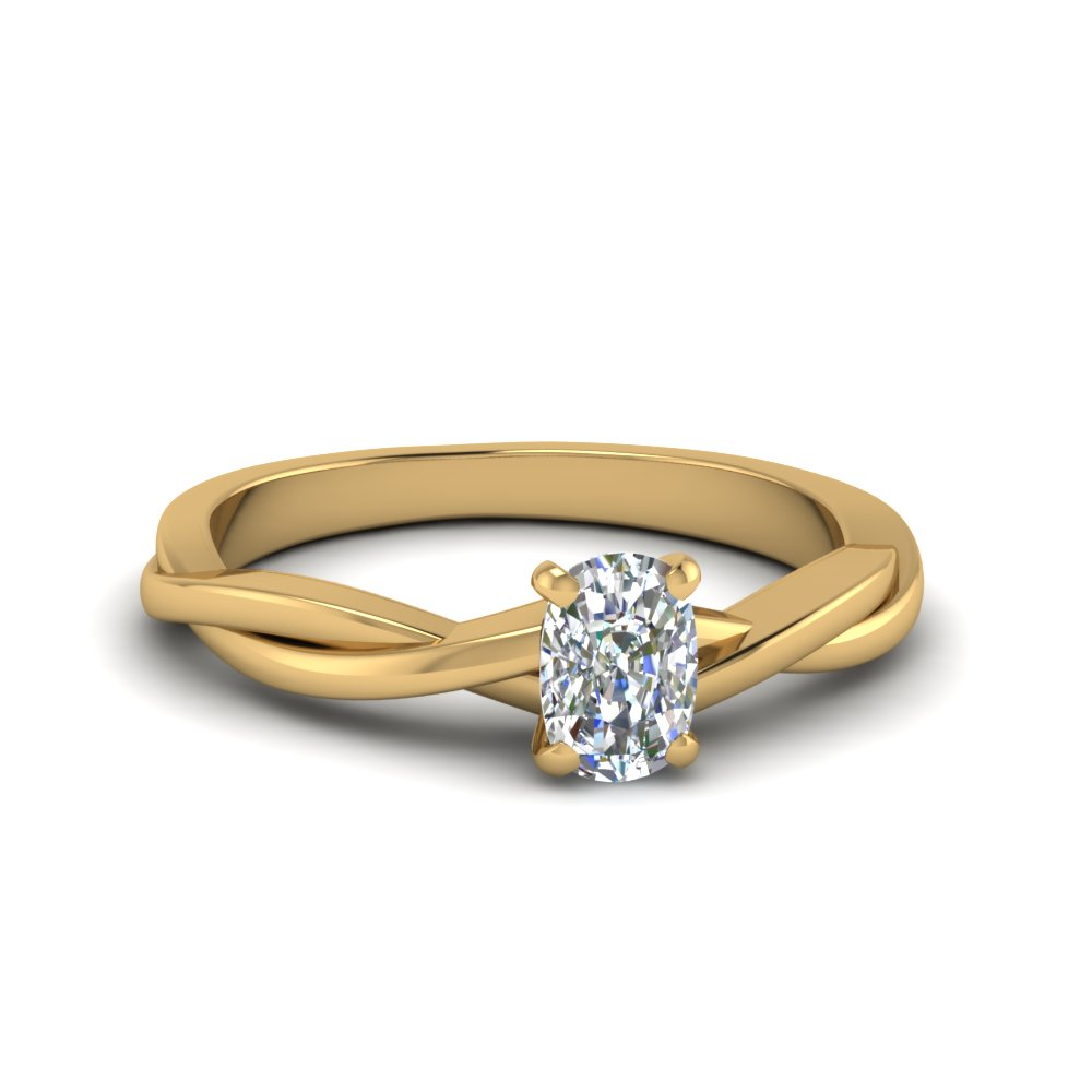 rings engagement cut pave ring rockher in gold shank diamond crossover rose cushion with