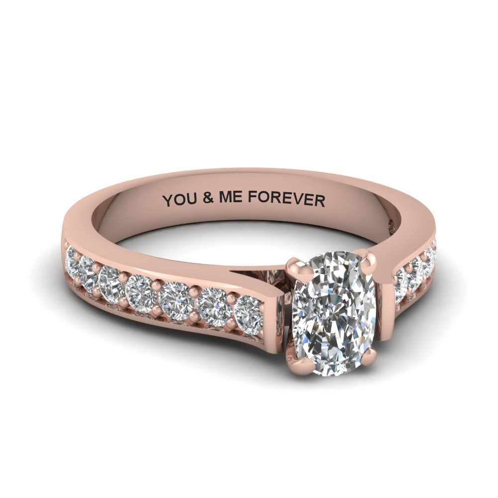 Cathedral Pave Engravable Diamond Ring