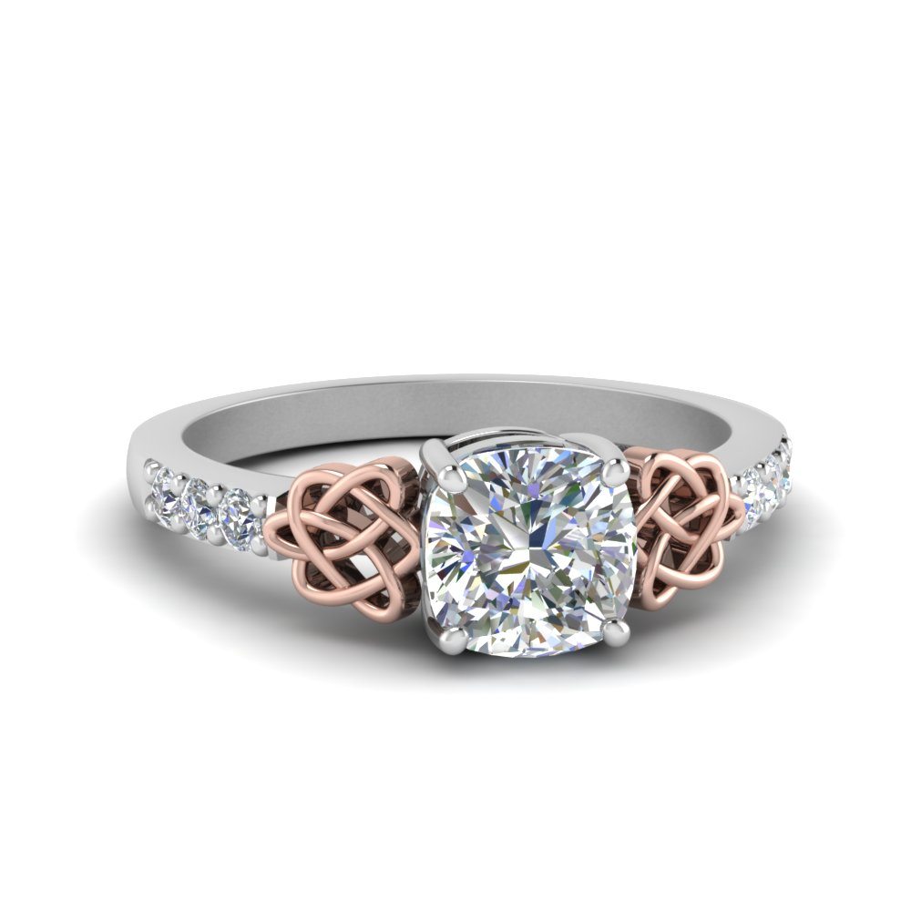 Celtic Cushion Cut Diamond Ring