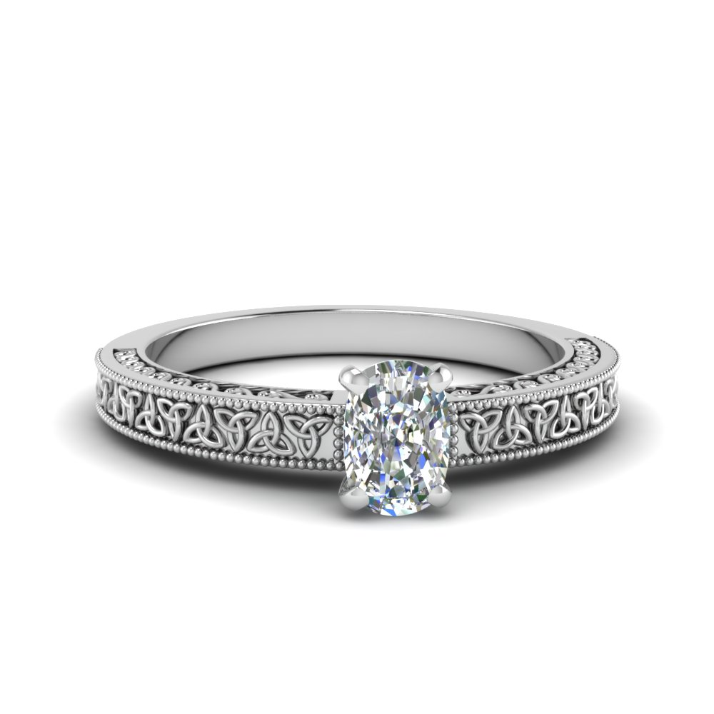 celtic engraved cushion solitaire engagement ring in FD8544CUR NL WG