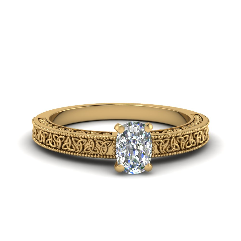 celtic engraved cushion solitaire engagement ring in FD8544CUR NL YG