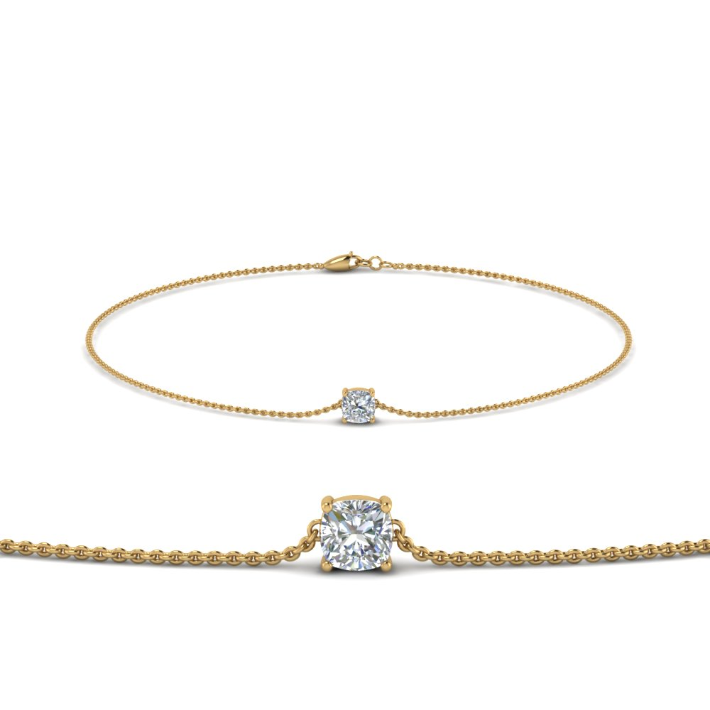 cushion diamond chain bracelet in FDBRC8656CU NL YG