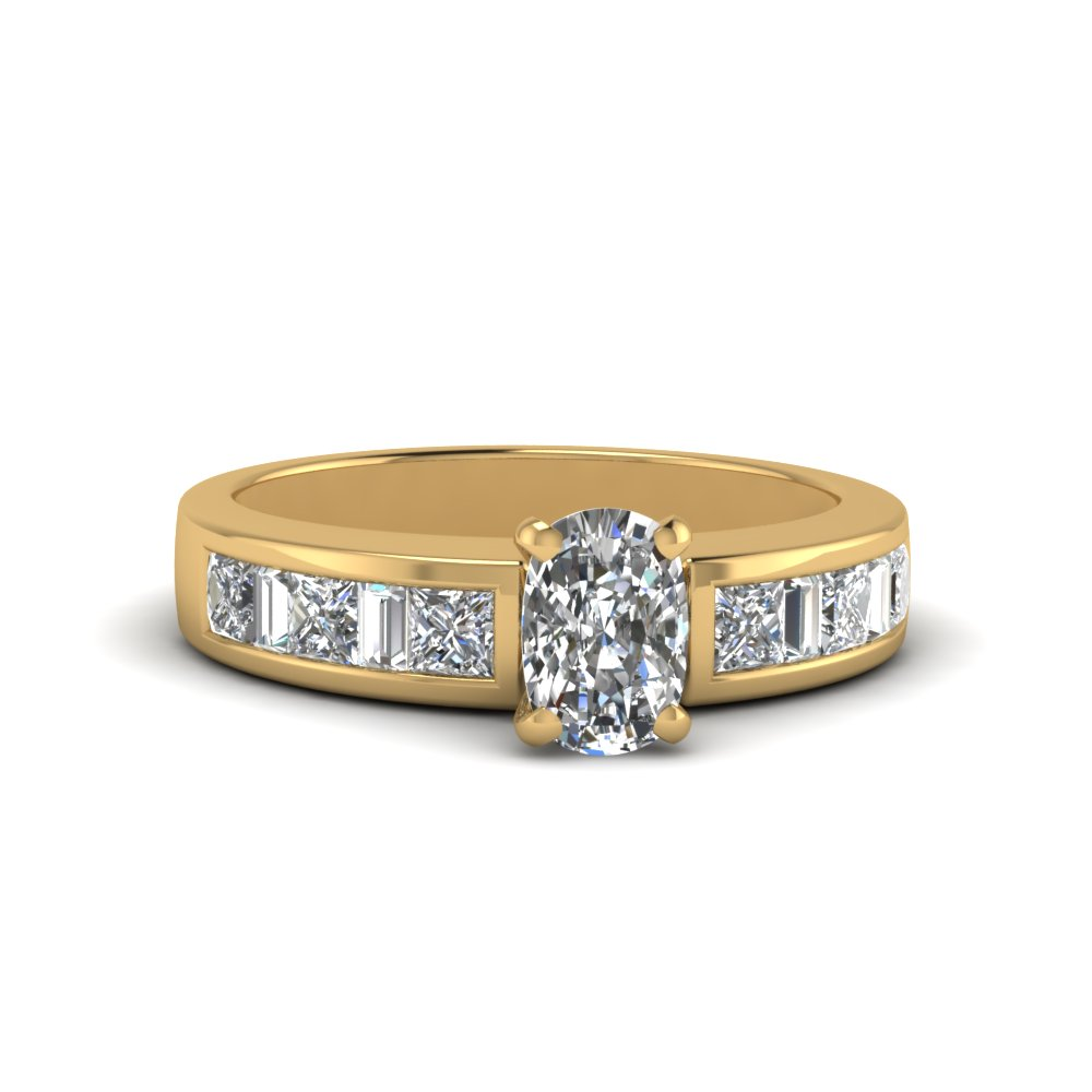 cushion cut channel baguette and princess accent diamond engagement ring in FDENS350CUR NL YG