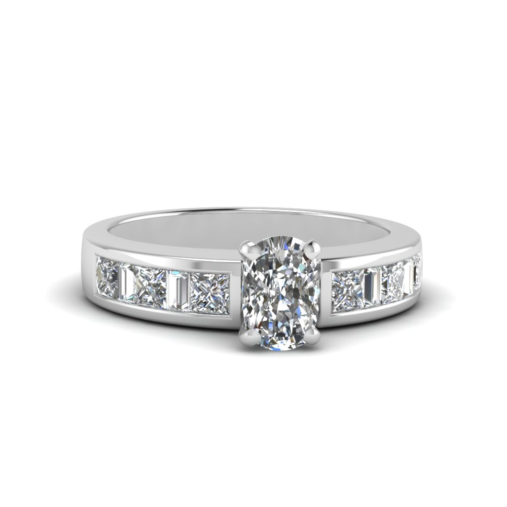 cushion cut channel baguette and princess accent diamond engagement ring in FDENS350CUR NL WG