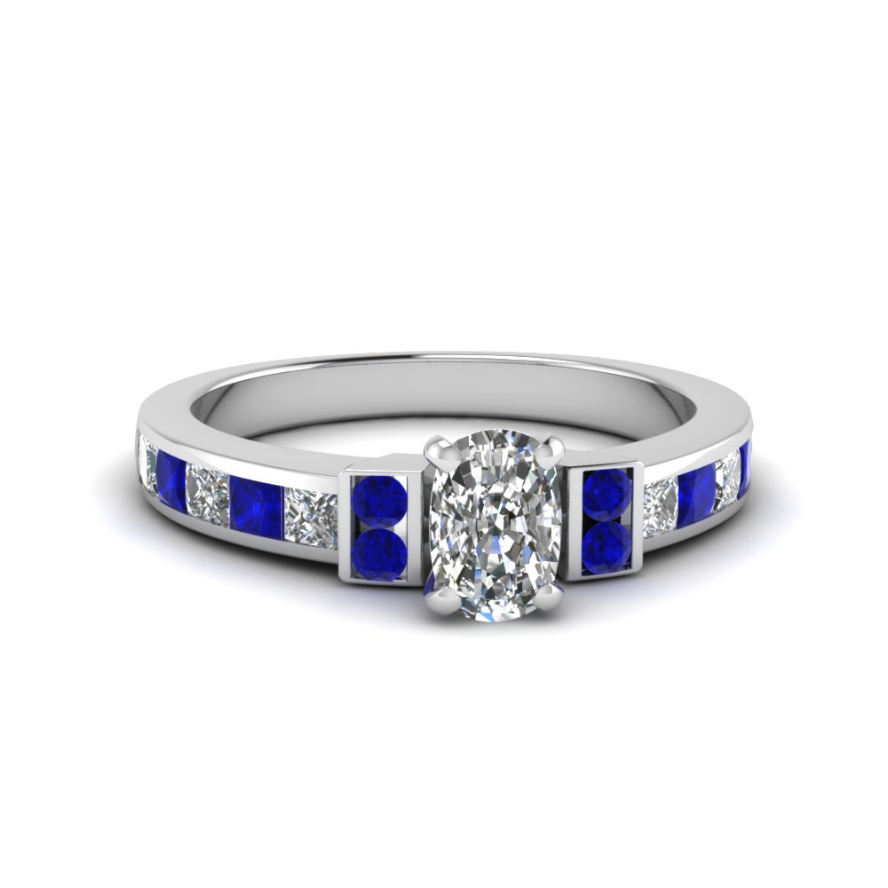 cushion cut channel bar set diamond engagement ring for women with blue sapphire in FDENR989CURGSABL NL WG