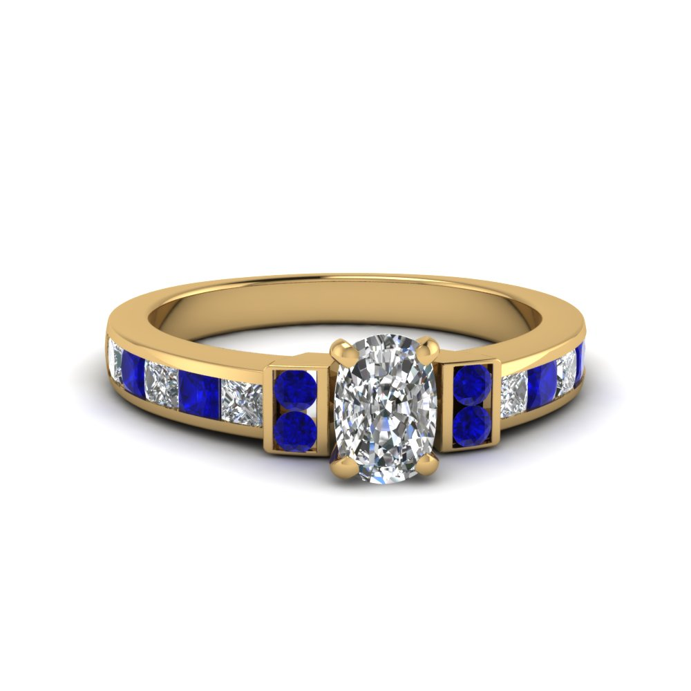 cushion cut channel bar set diamond engagement ring for women with blue sapphire in FDENR989CURGSABL NL YG