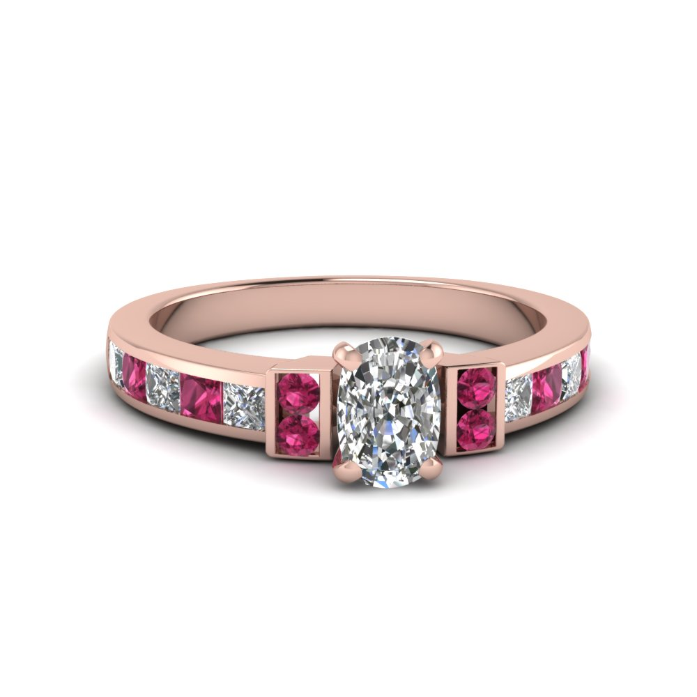 cushion cut channel bar set diamond engagement ring for women with pink sapphire in FDENR989CURGSADRPI NL RG