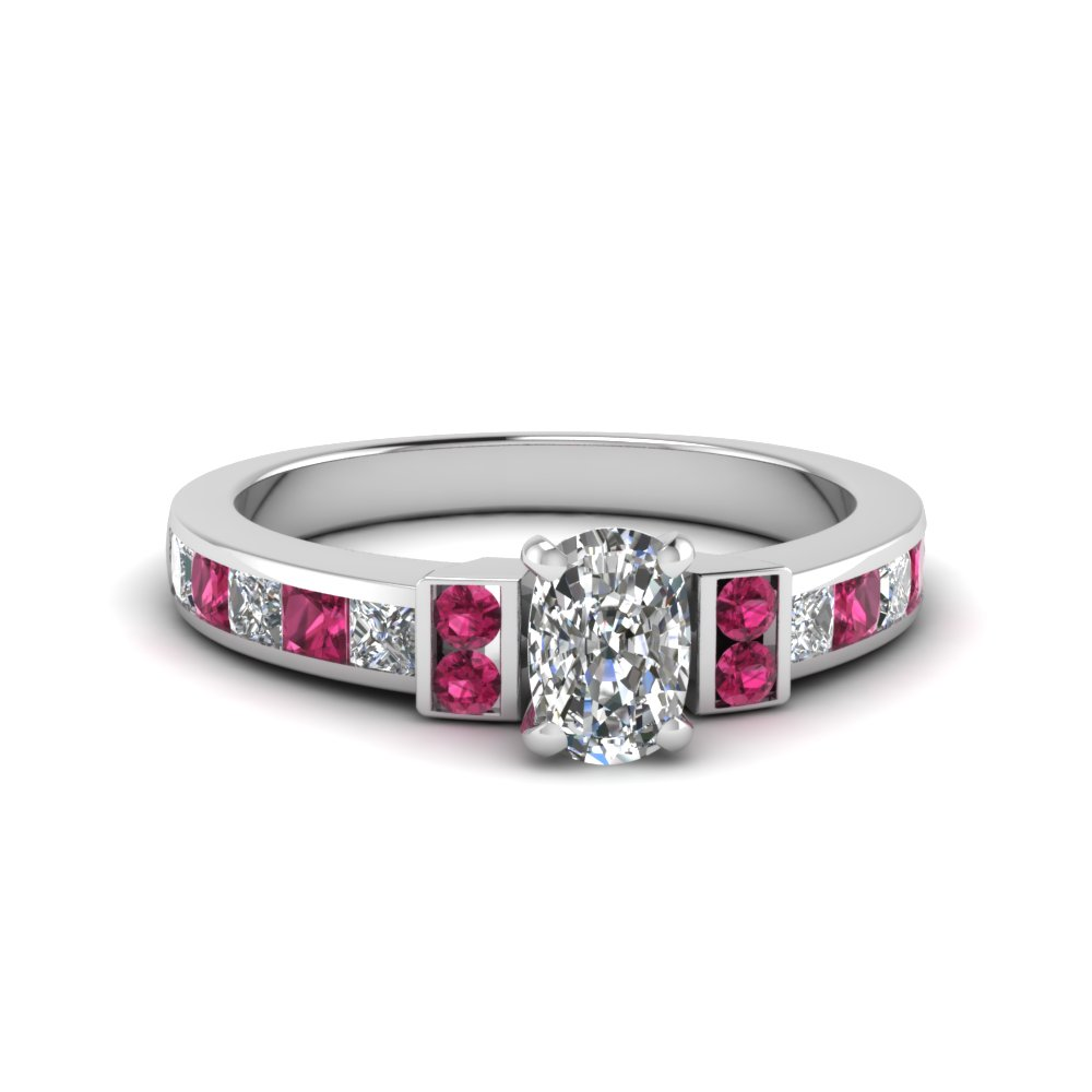 cushion cut channel bar set diamond engagement ring for women with pink sapphire in FDENR989CURGSADRPI NL WG