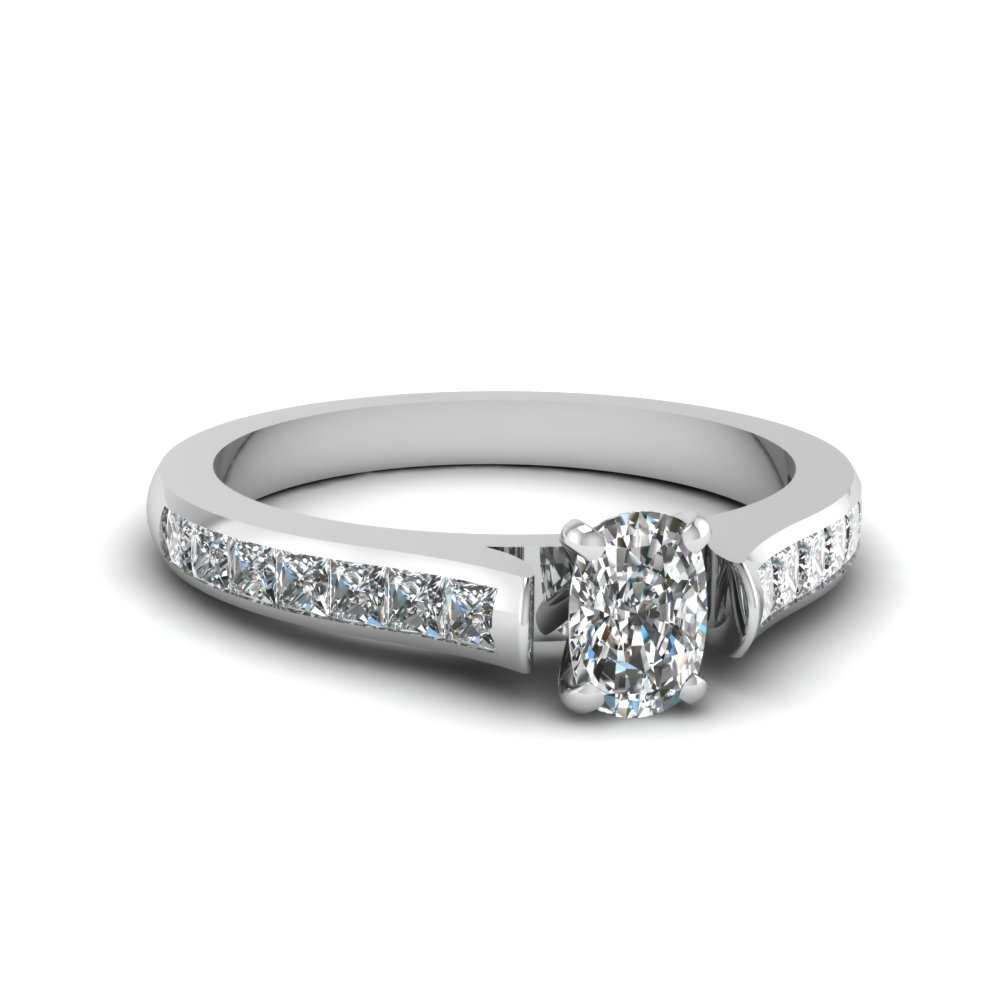 White Gold Cushion and Princess Cut Diamond Ring